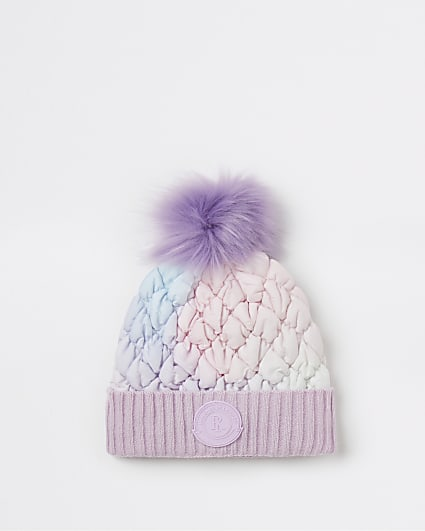 Girls purple ombre padded beanie hat