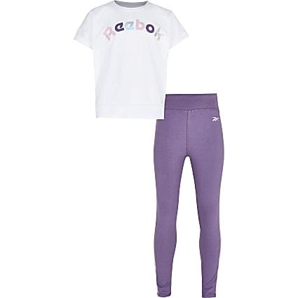 Girls purple Reebok t-shirt and leggings set