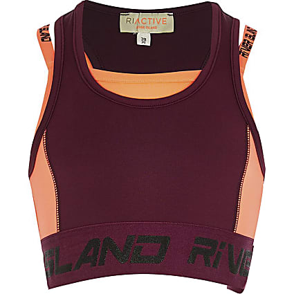 Girls purple RI Active Crop Top