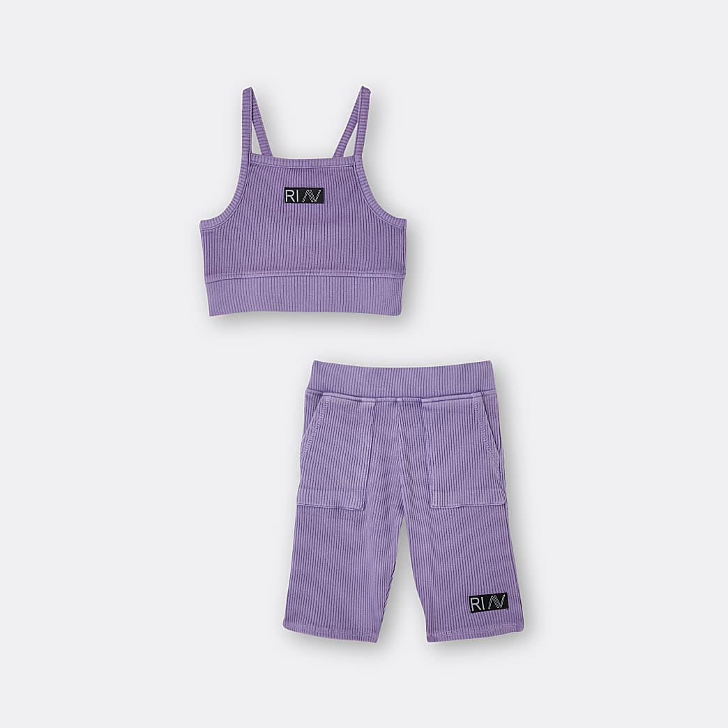Girls purple RI Active ribbed crop top outfit