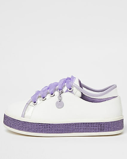 Girls purple RI diamante lace up trainers