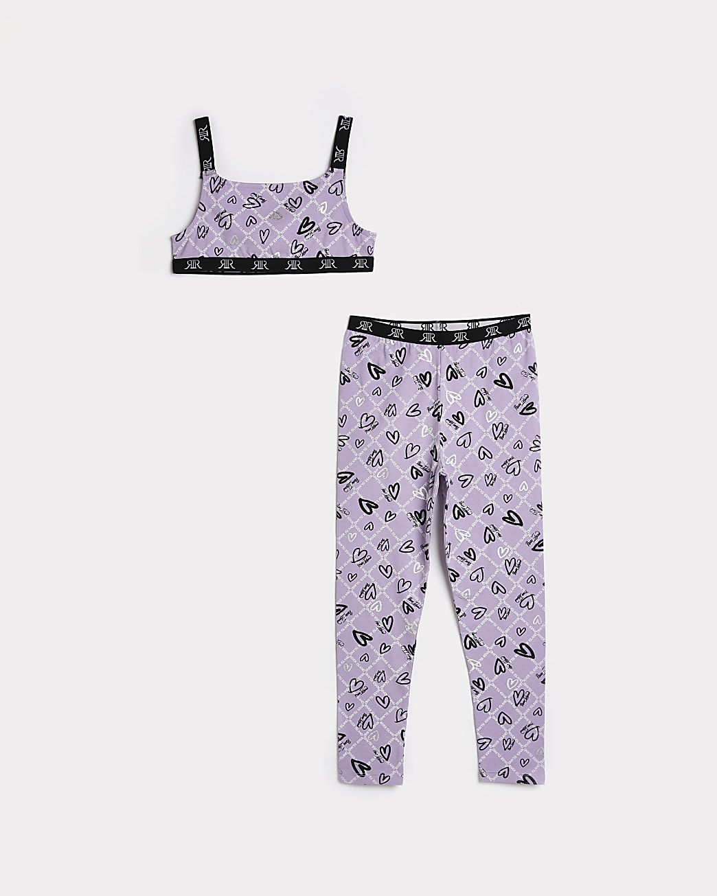 Girls purple RI heart crop top and leggings