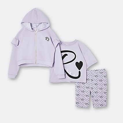 Girls purple RI hoodie and shorts 3 piece set