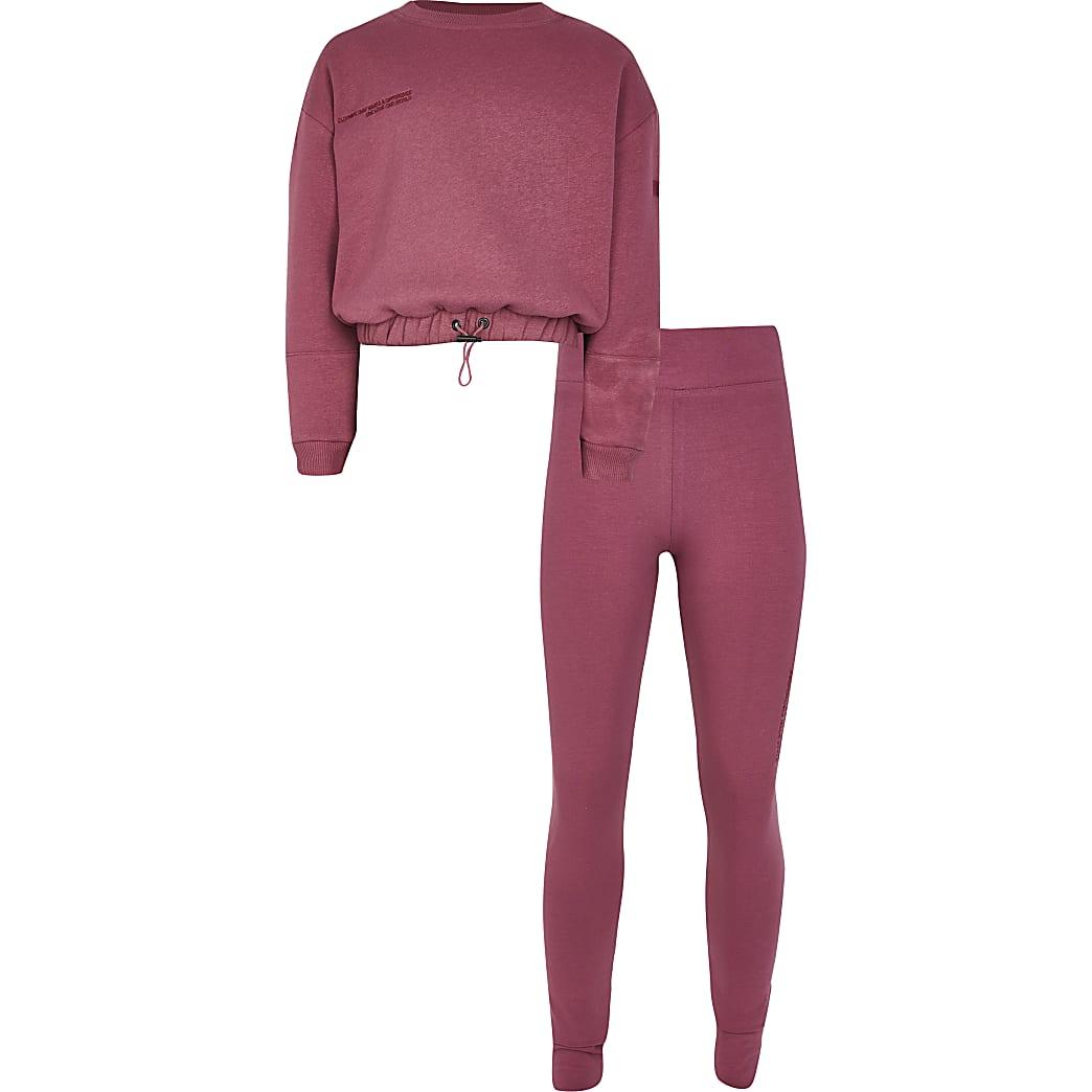 Girls purple RI One sweatshirt outfit
