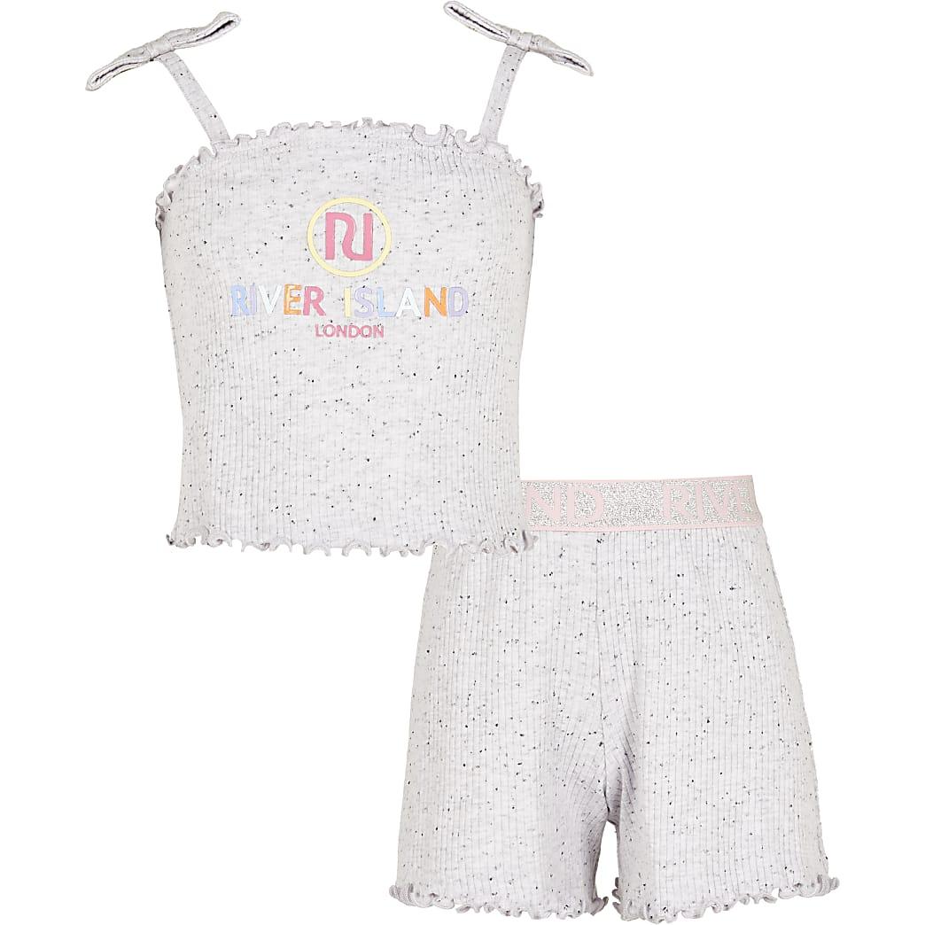 Girls purple ribbed cami & shorts pyjama set