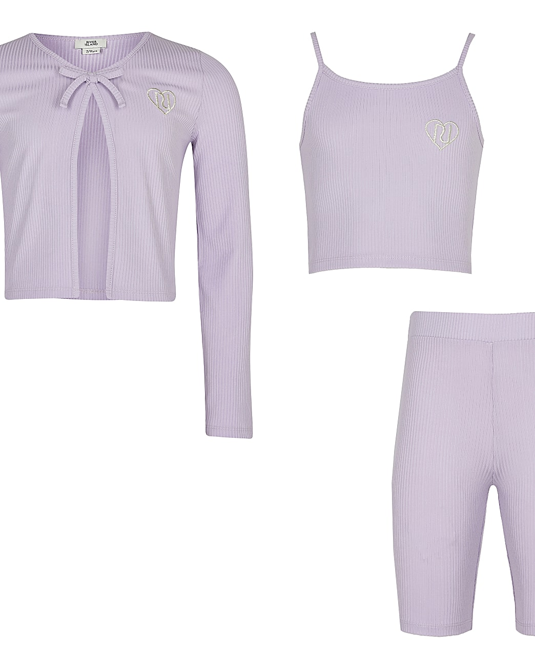 Girls purple ribbed cardigan 3 piece outfit