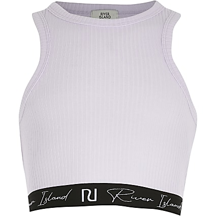 Girls purple ribbed elasticated trim crop top