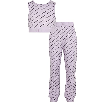 Girls purple ribbed RI pyjamas