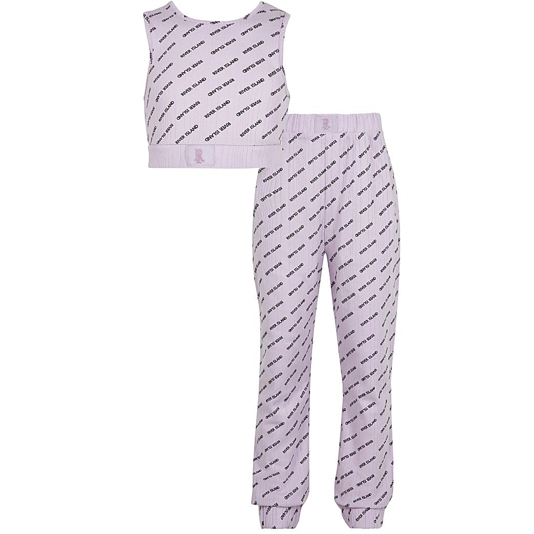 Girls purple ribbed RI pyjamas