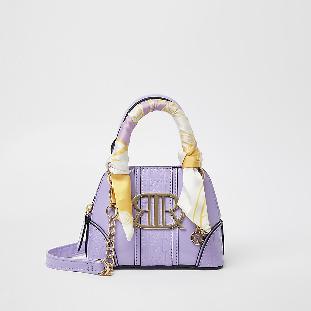 Girls purple RIR embossed mini tote bag