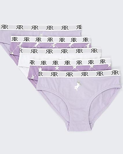 Girls purple RIR ombre unicorn briefs 5 pack