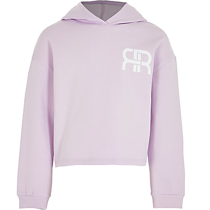 Girls purple RR chest logo hoodie