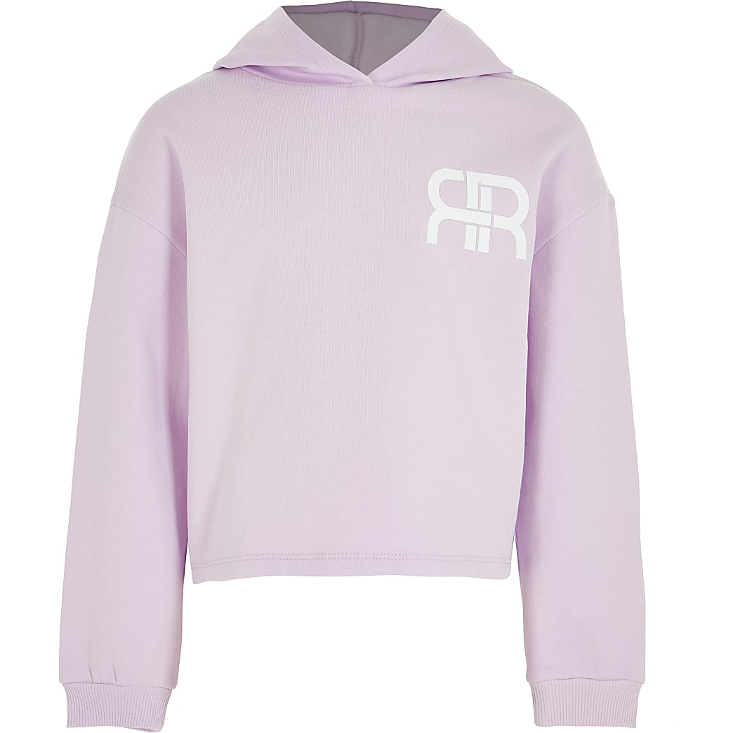Girls purple RR chest logo hoodie