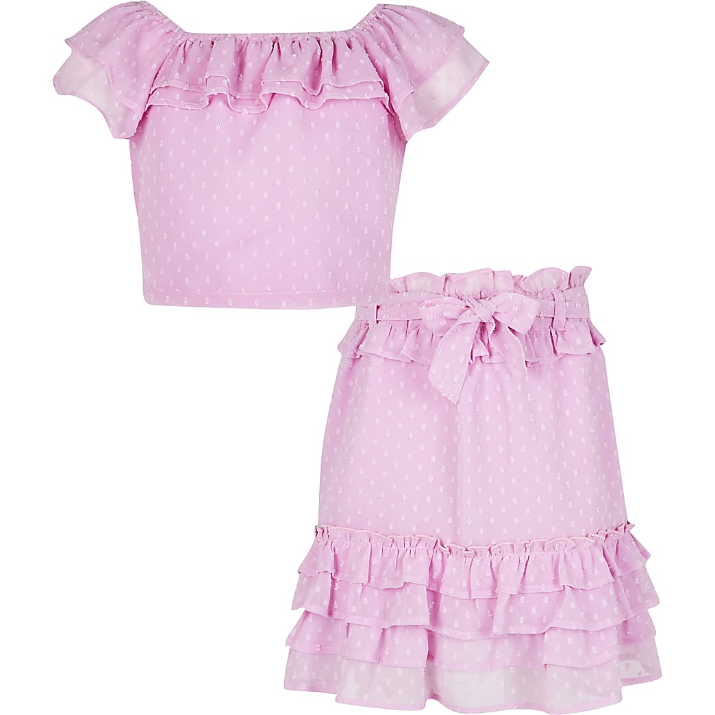 Girls purple ruffle top and skirt outfit