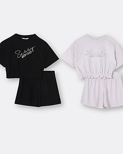 Girls purple 'sassy' 2 pack pyjama set