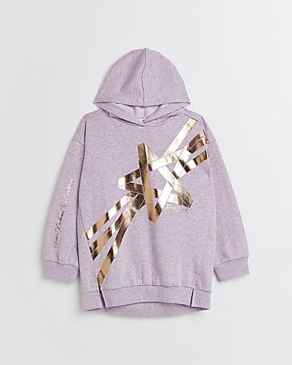 Girls purple star longline hoodie