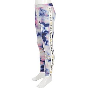 Paarse tie-dye legging met RI-logo voor meisjes