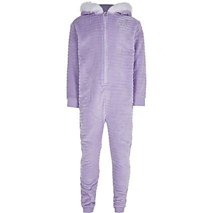 Girls purple 'Unique' cosy onesie