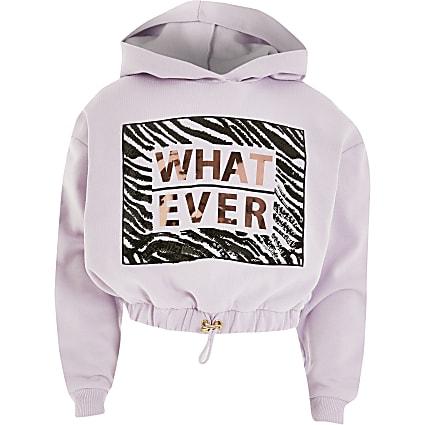 Girls purple 'Whatever' sequin hoodie
