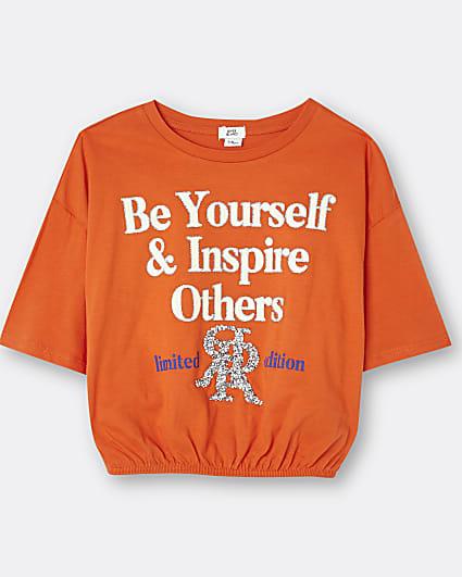 Girls red 3d trim 'be yourself' cinch t-shirt