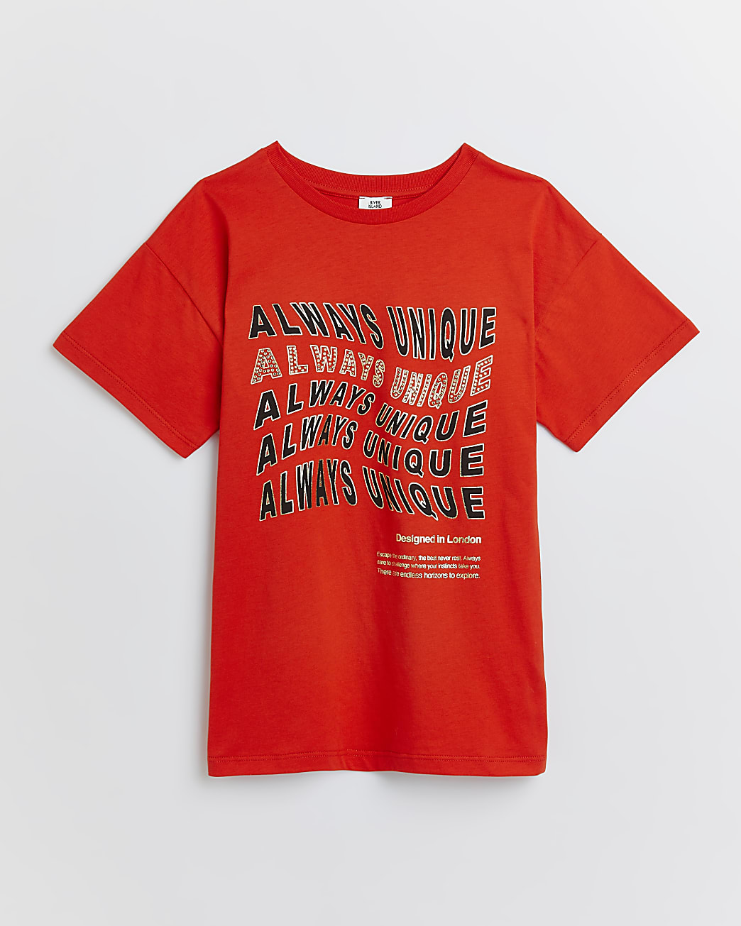 Girls red 'Always Unique' embellished t-shirt