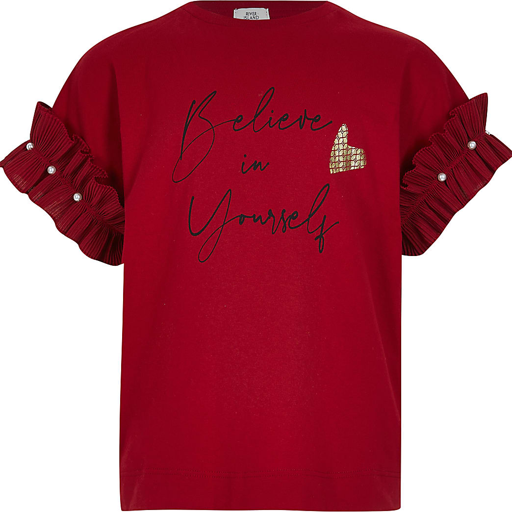 Girls red 'Believe in yourself' t-shirt