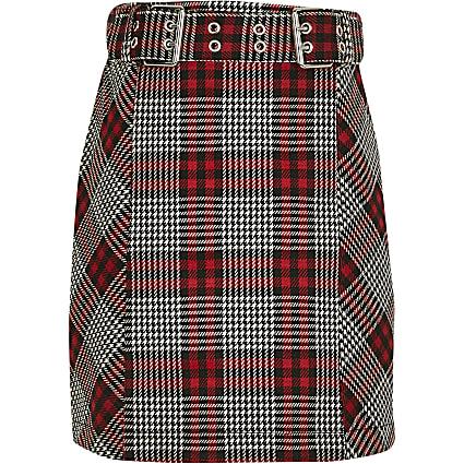 Girls red biker buckle skirt