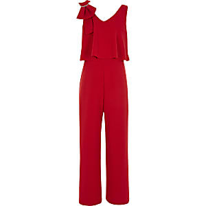 Girls red brooch bow shoulder jumpsuit