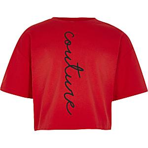 Rood T-shirt met 'Couture'-print voor meisjes