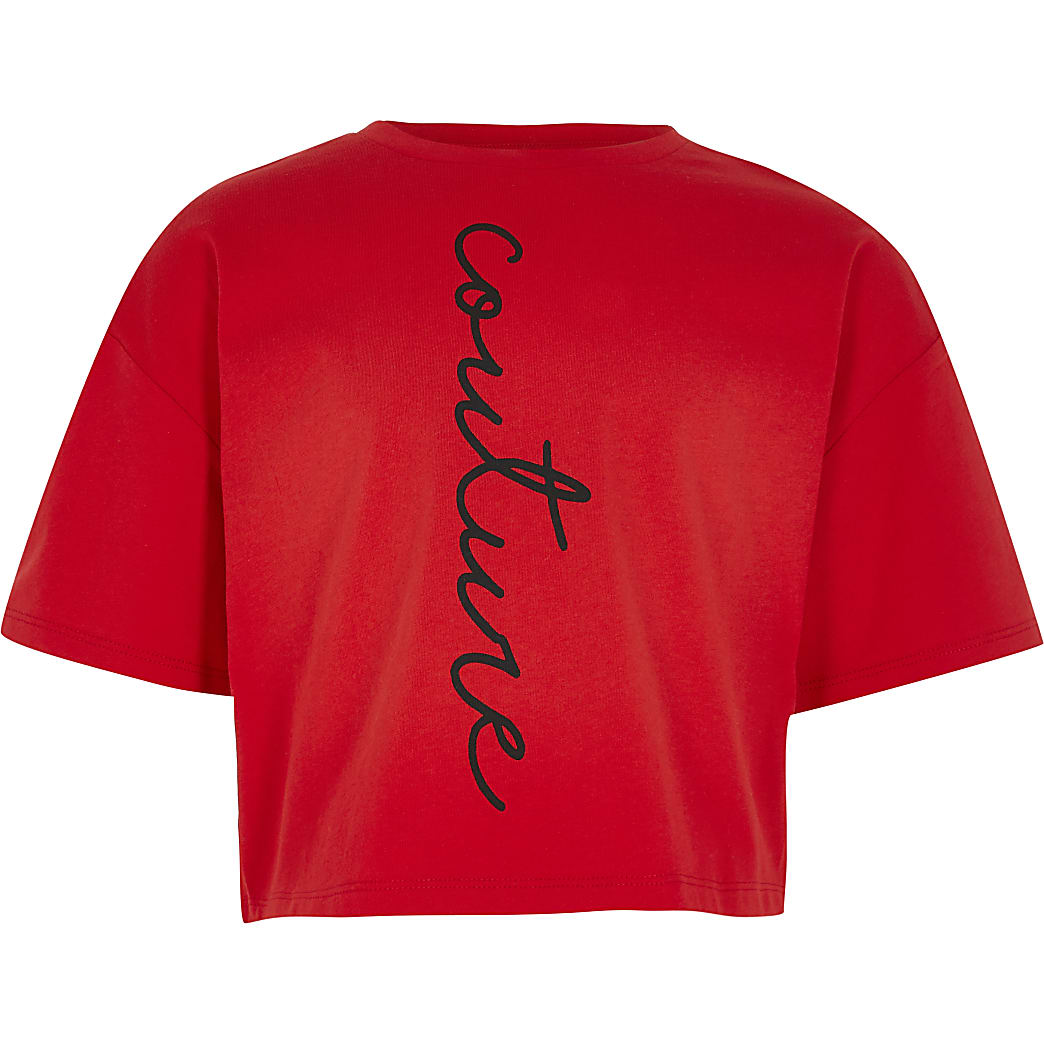 Girls red 'couture' print t-shirt