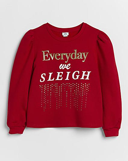 Girls red diamante Christmas sweatshirt