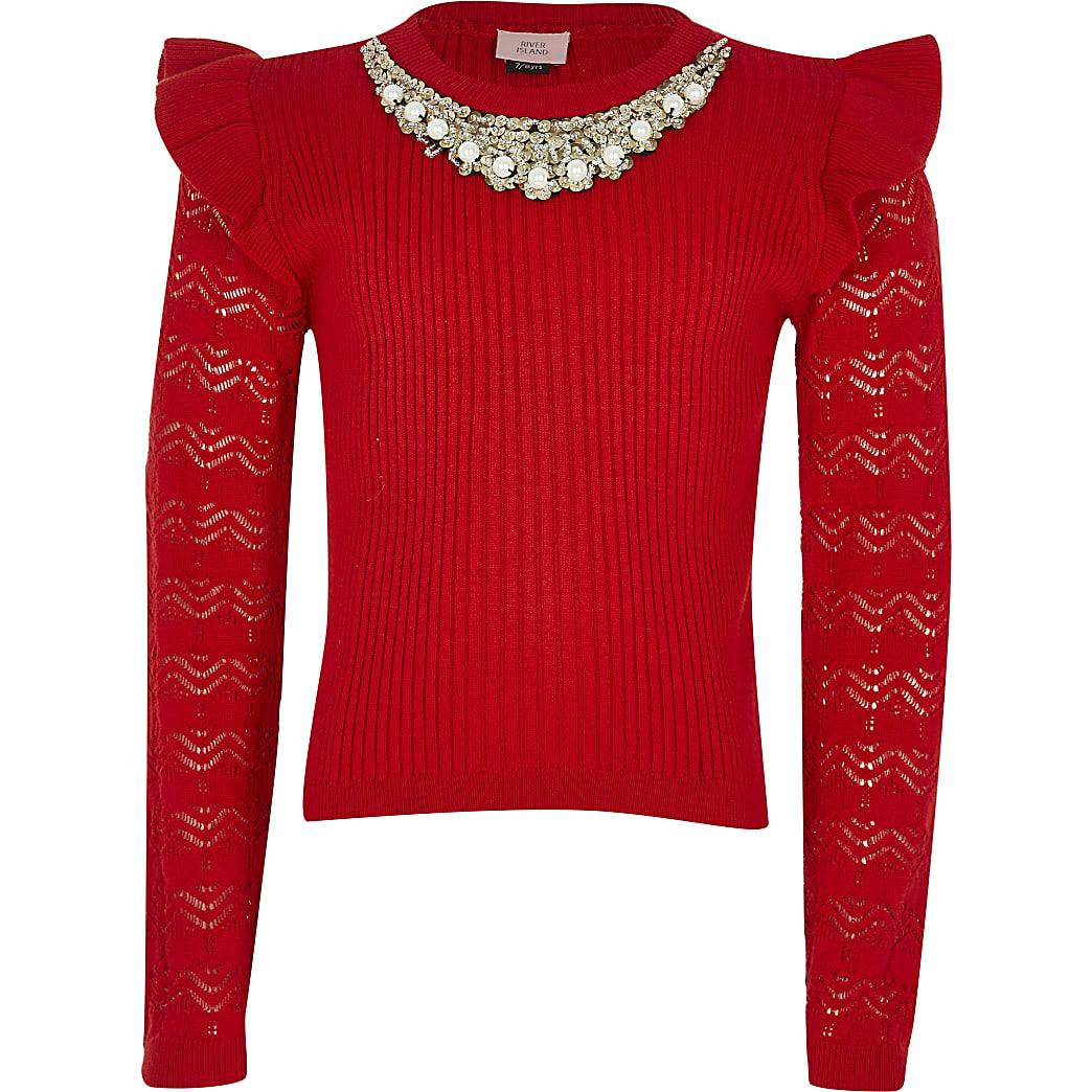Girls red embellished neck jumper