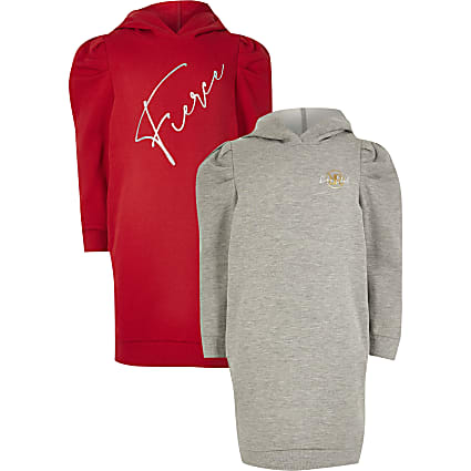 Girls red 'Fierce' hoodie dress 2 pack