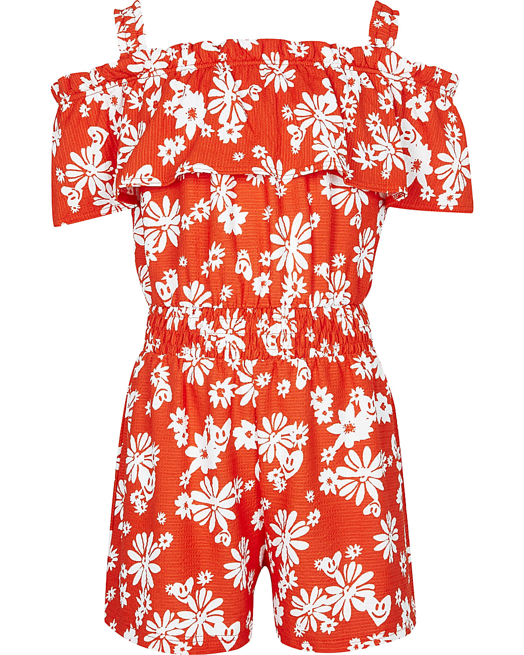 Girls red floral bardot playsuit