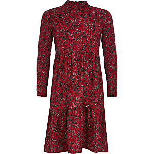 Girls red floral long sleeve smock dress