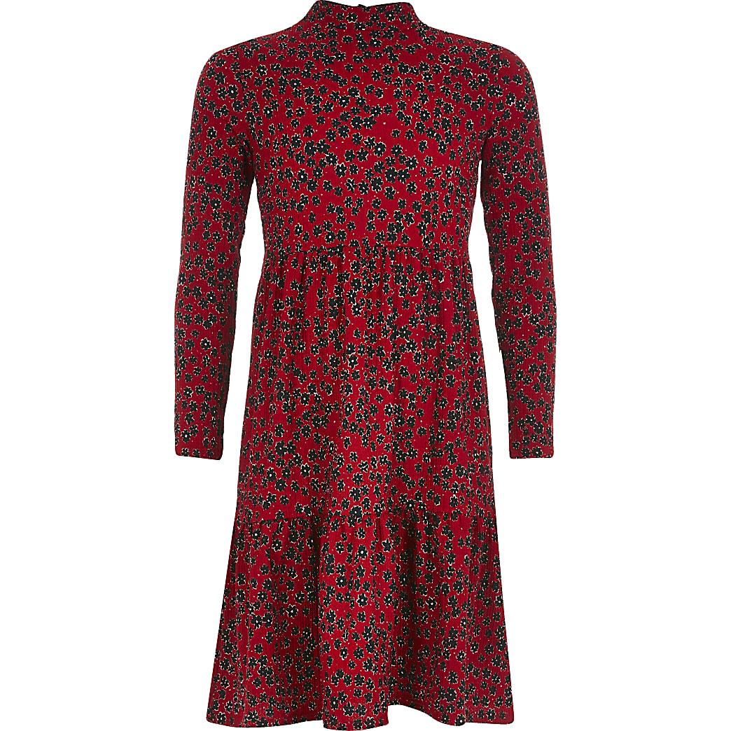 Rode gesmokte jurk met bloemenprint en lange mouwen voor meisjes