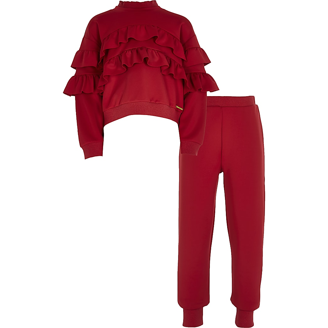 Girls red frill scuba outfit