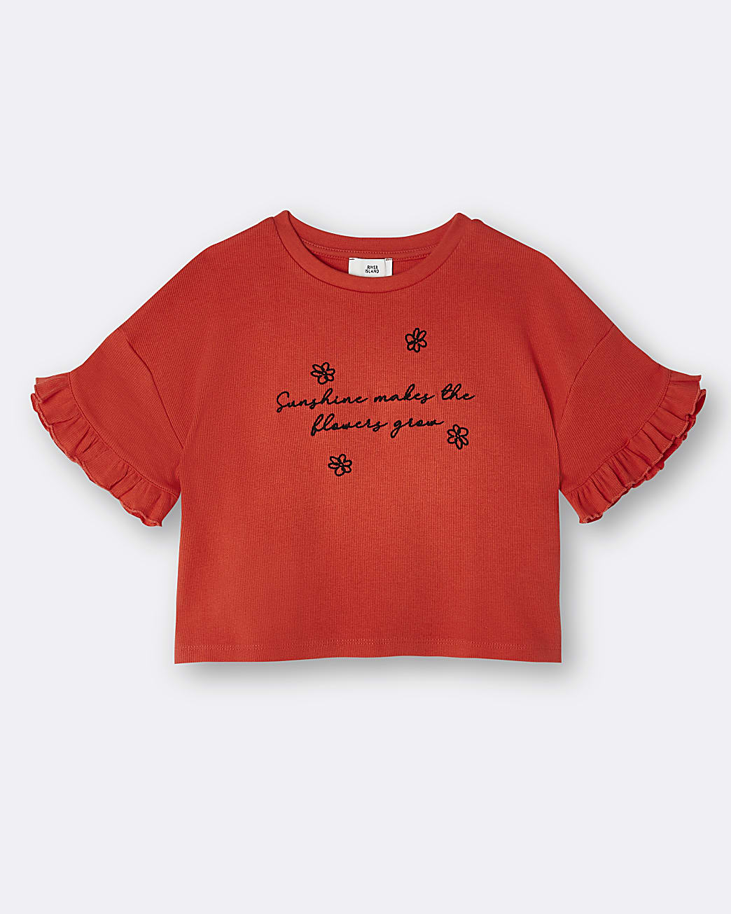 Girls red frill sleeve t-shirt