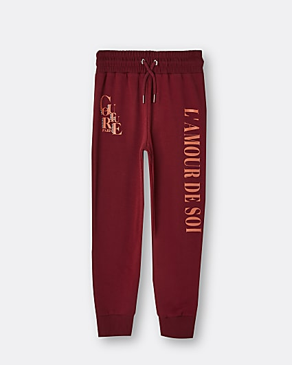 Girls red graphic embellished joggers