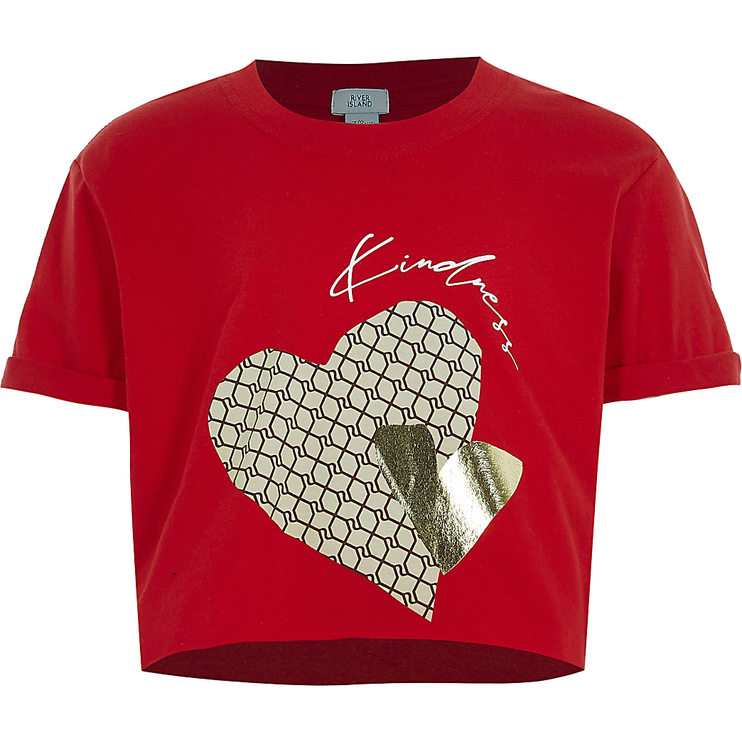 Girls red 'Kindness' heart t-shirt