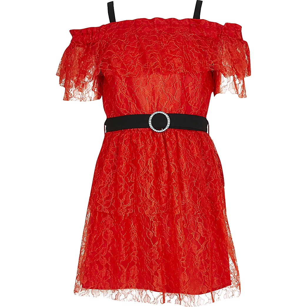 Girls red lace ruffle bardot belted dress