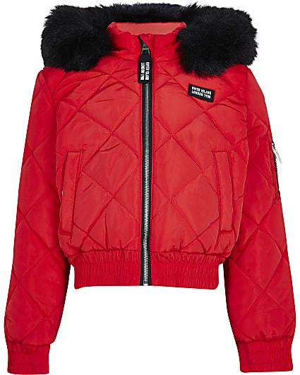 Girls red matte padded bomber jacket