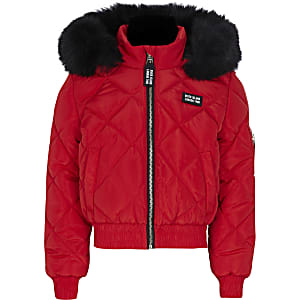 Girls red matte padded bomber jacket