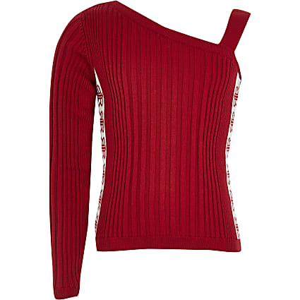 Girls red one shoulder jumper
