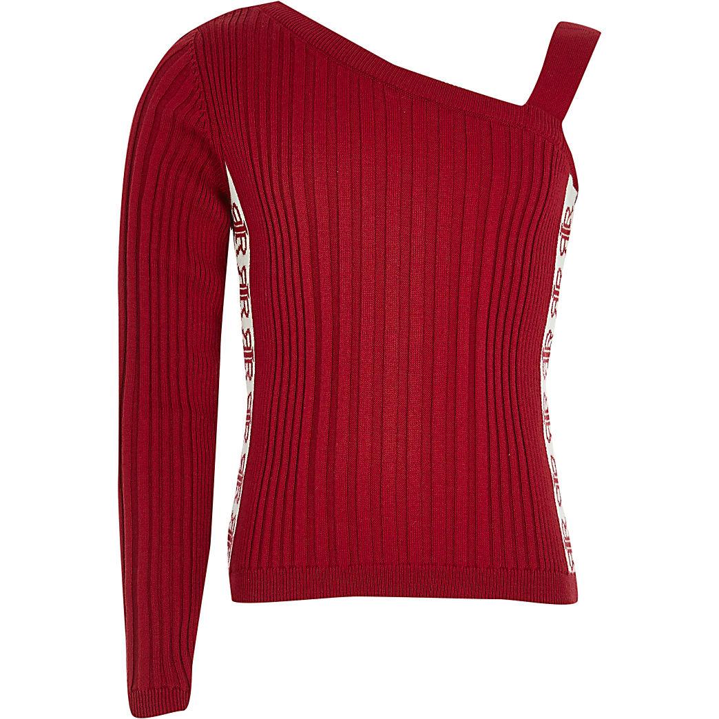 Girls red one shoulder jumper