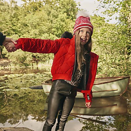 Girls red padded bomber jacket