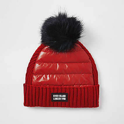 Girls red padded pom pom beanie hat