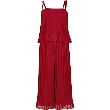 Girls red pleated frill jumpsuit