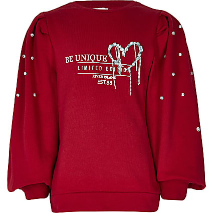 Girls red puff diamante sweatshirt