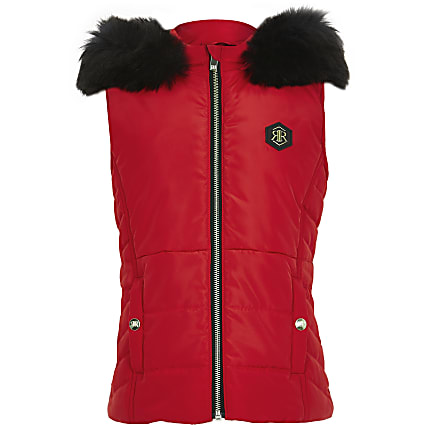 Girls red puffer gilet